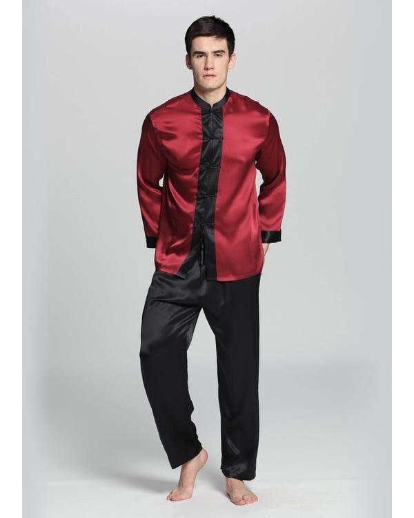 Eksotiske Silke Pyjamas Sæt Til Mænd Claret L