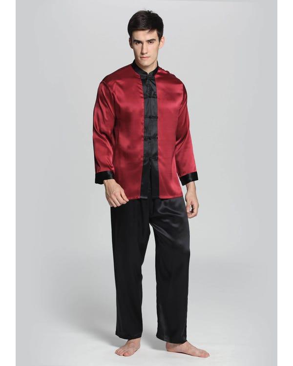 Eksotiske Silke Pyjamas Sæt Til Mænd Claret L-hover