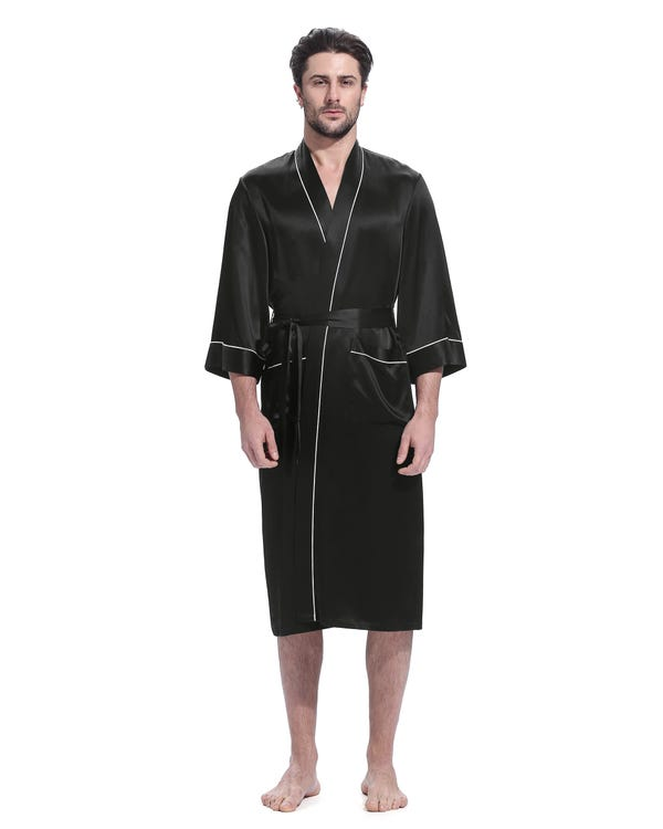 22 Momme Kimono Silk Robe with Piping Black L-hover