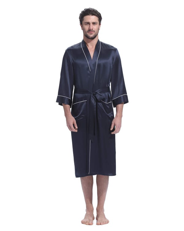 22 Momme Kimono Silk Robe with Piping