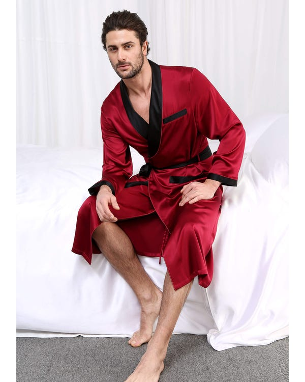 22 Momme Business Contrast Long Silk Dressing Gown