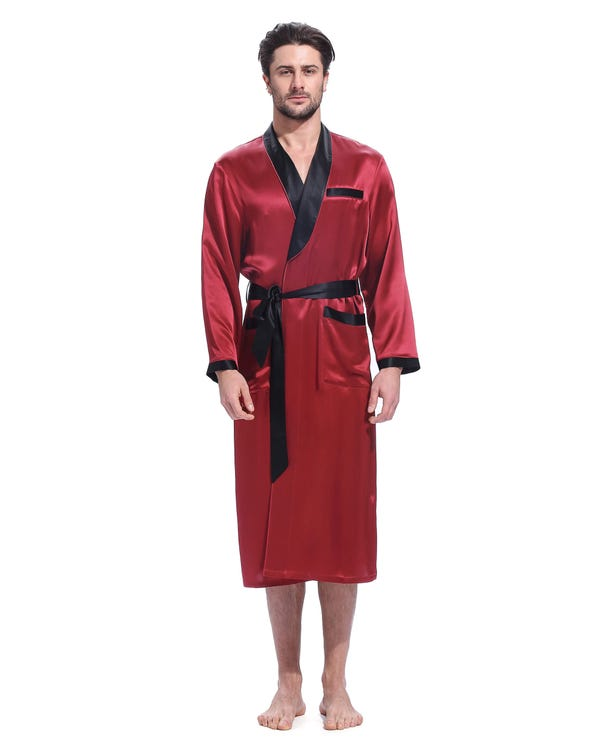 22 Momme Business Contrast Long Silk Robe-hover