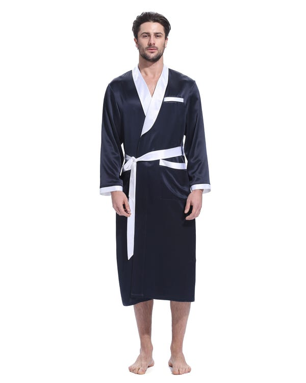 22 Momme Business Contrast Long Silk Robe Navy Blue XXXL-hover