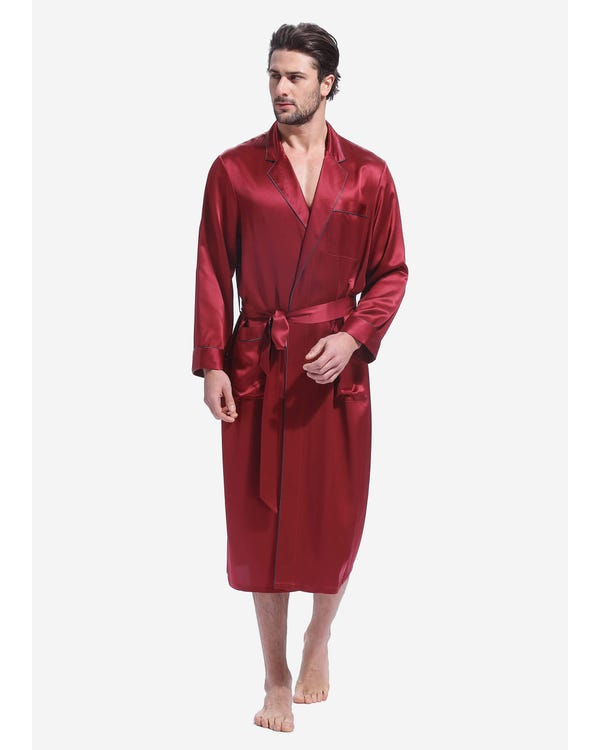 22 Momme Casual Long Silk Robe Claret XXXL
