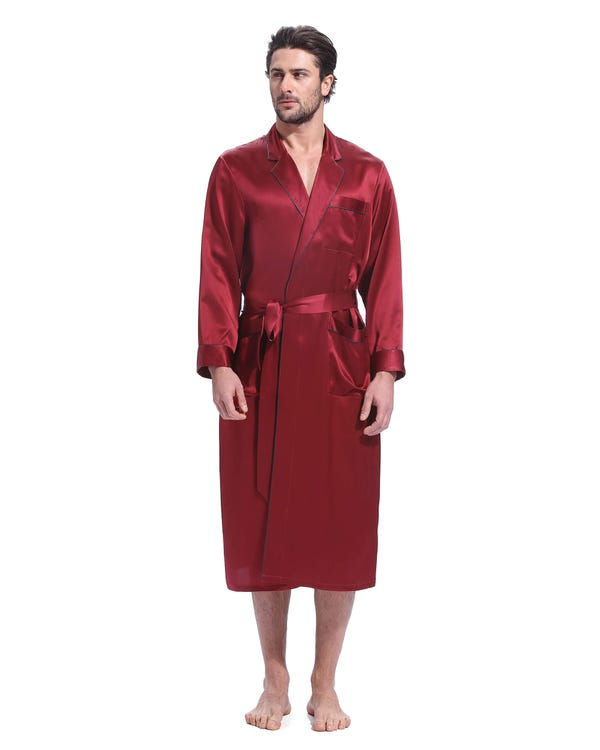 22 Momme Casual Long Silk Robe Claret XXXL-hover