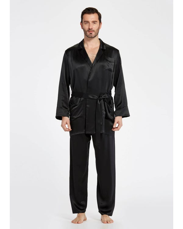 22 Momme Lapel Collar Silk Pajamas Set For Men Black XL