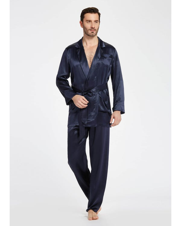 22 Momme Lapel Collar Silk Pyjamas Set For Men