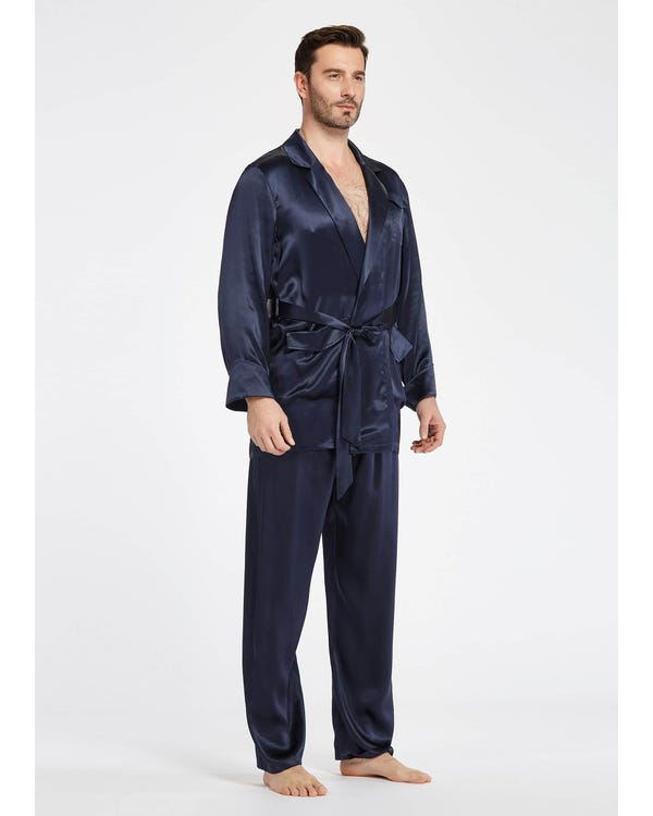 22 Momme Lapel Collar Silk Pajamas Set For Men-hover
