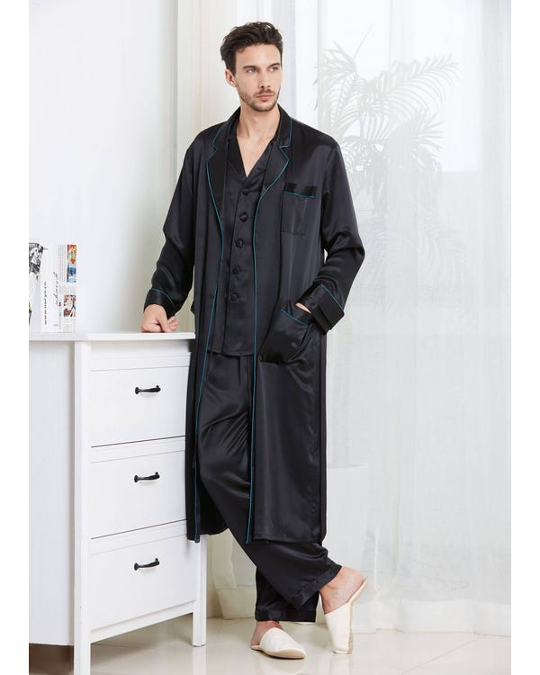 22 Momme Casual Long Silk Pajamas & Robe Set for Men Black XXXL-hover