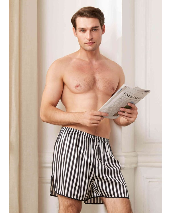 22mm Men Classic Boxer With Black And White Stripes