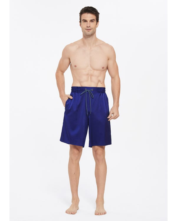 Comfortable Silk Lounge Shorts For Men Navy Blue L-hover