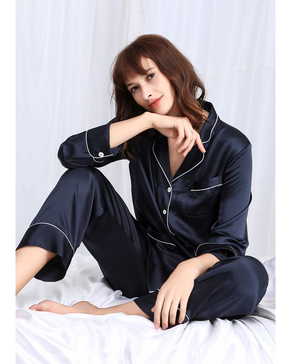 22 Momme Chic Trimmed Long Silk Pajamas Set 3pcs-hover