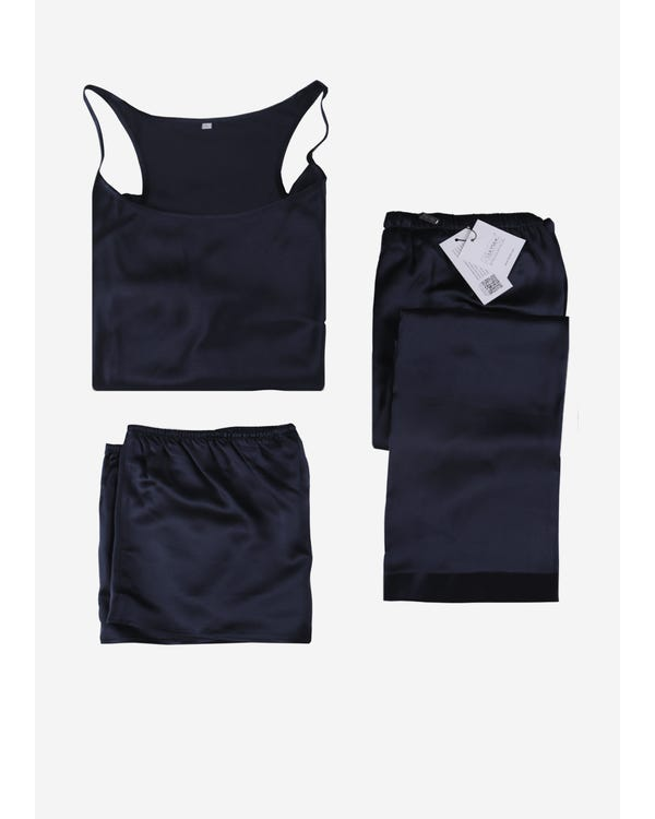 22 Momme Elegant Silk Camisole Set 3pcs Navy Blue 1X