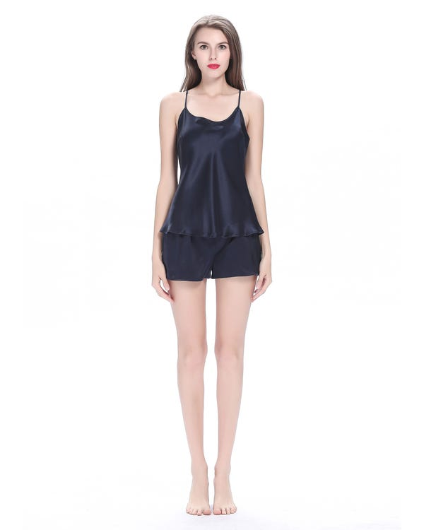 22 Momme Elegant Silk Camisole Set 3pcs Navy Blue 1X-hover