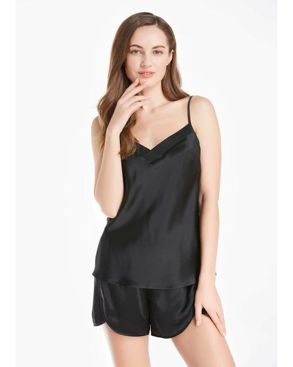 22 Momme Long Silk Camisole Set 3pcs Black XXL