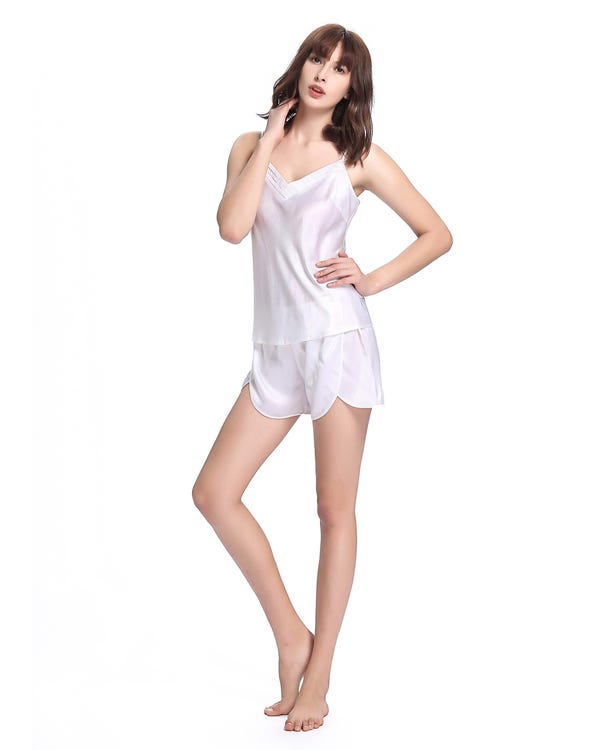 22 Momme Long Silk Camisole Set 3pcs-hover