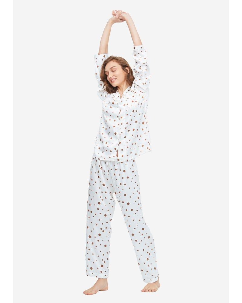 Lovely Polka Dot Print Silk Pajama Set