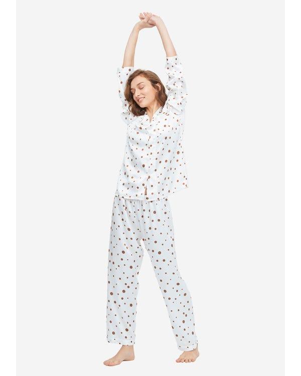 Pijamas de Seda con Estampado de Lunares Uneven-Polka-Dots XS