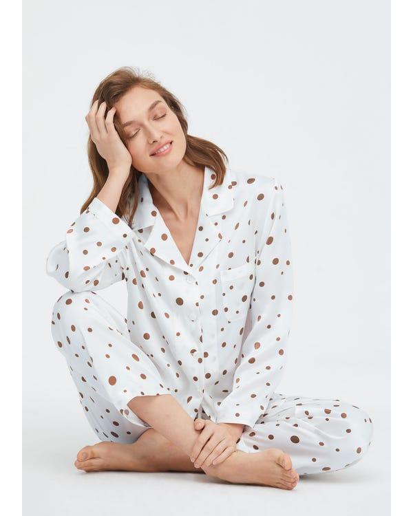 Pijamas de Seda con Estampado de Lunares Uneven-Polka-Dots XS-hover