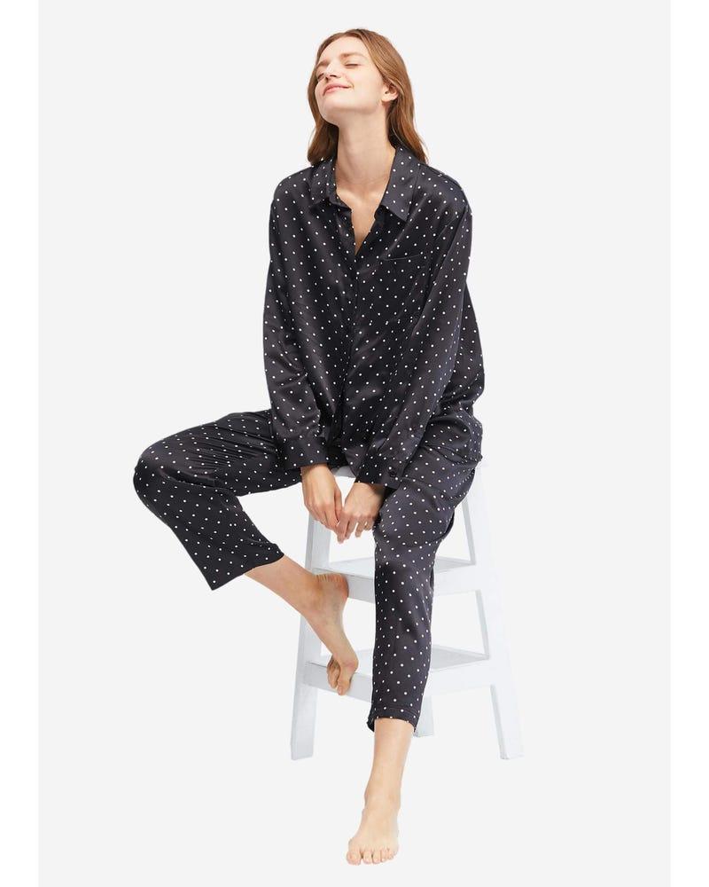 Little Dots Print Silk Pajama Set