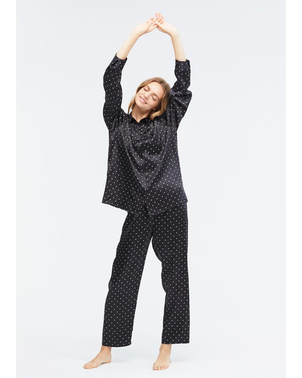 Little Dots Print Silk Pajama Set-hover