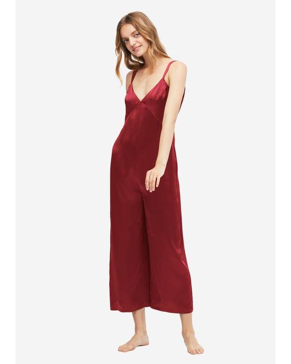 22MM Pijama Mono Seda Espalda Forma en U Claret XS