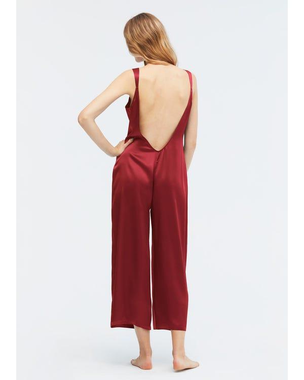 22MM Pijama Mono Seda Espalda Forma en U Claret XS-hover