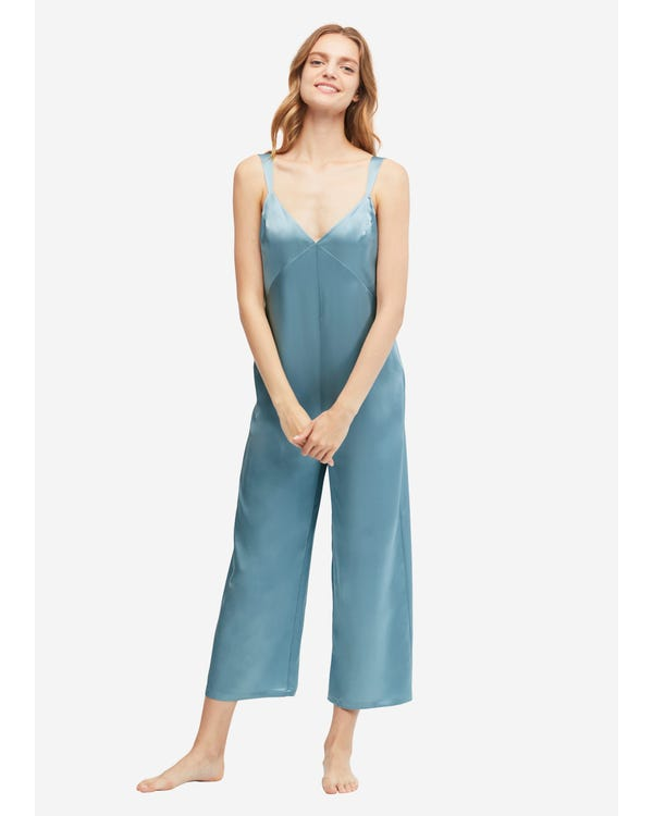 22 Momme U-back Silk Wide Jumpsuit Pajama