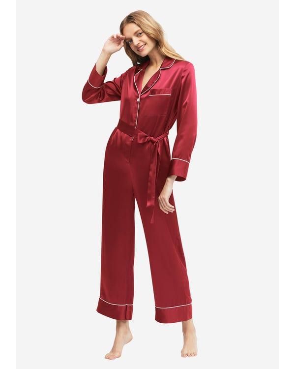 22MM Pijamas Mono Seda de con Cinturón Claret XS