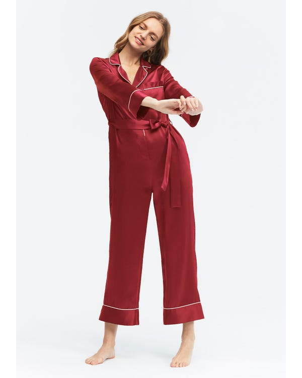 22MM Pijamas Mono Seda de con Cinturón Claret XS-hover