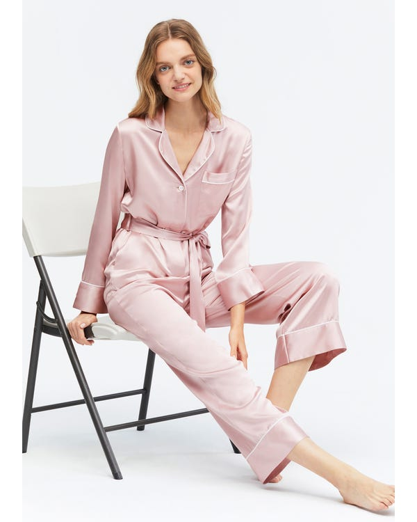 22 Momme Casual Belted Silk Jumpsuit Pajama