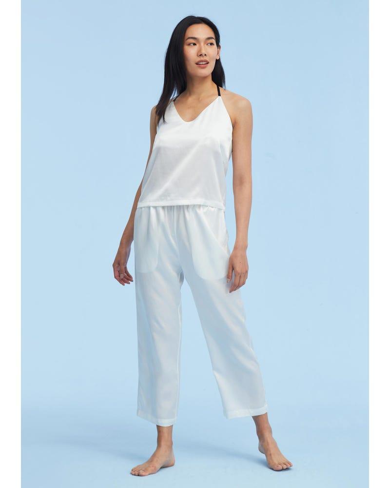 T Strap Casual Silk Camisole Set