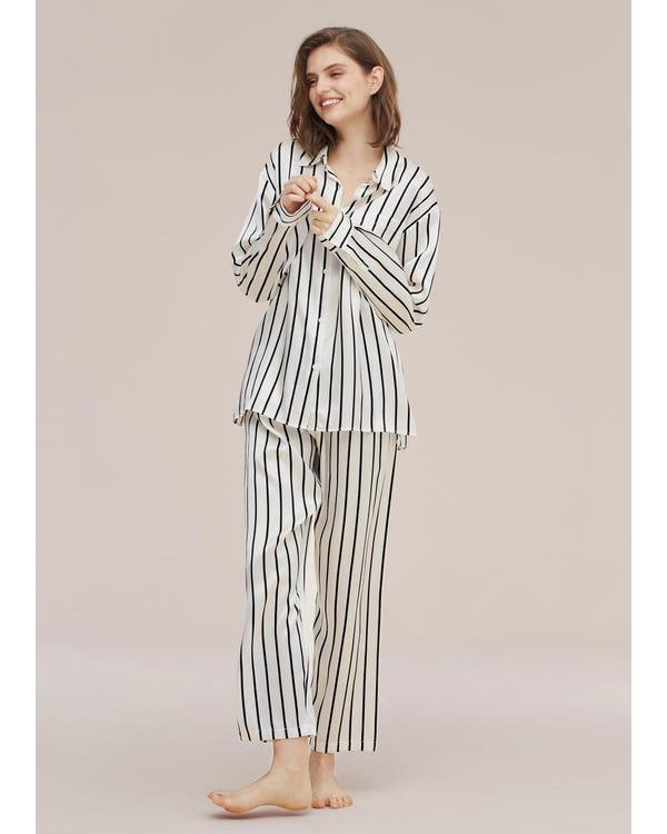 Set pigiama classico di seta a righe nere Black-And-White-Stripes-292 M