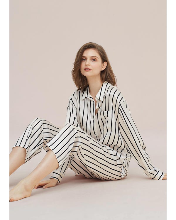 Classic Black Striped Silk Pajamas Set Black-And-White-Stripes-292 XL-hover