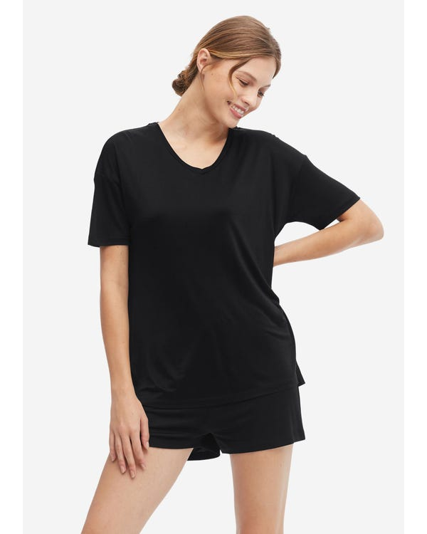 Loose Cozy Silk Lounge T-shirt Black M