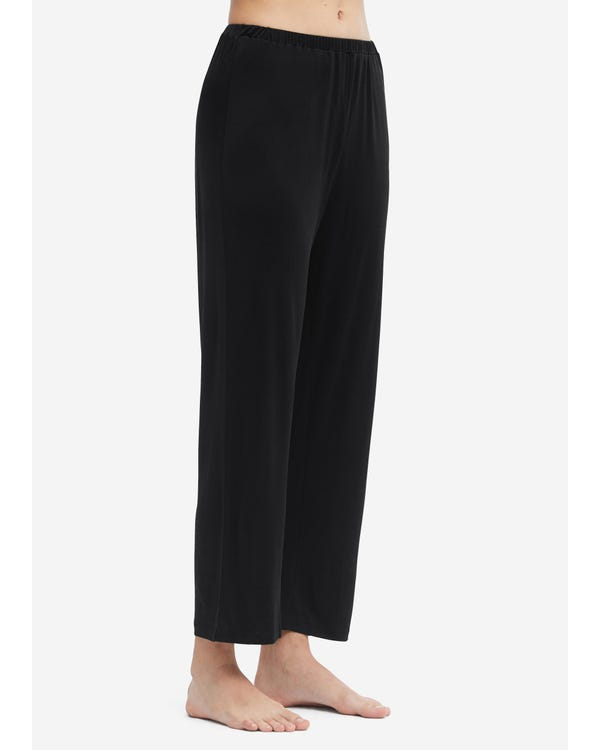 Comfortable Simple Style Silk Knitted Pants Black M