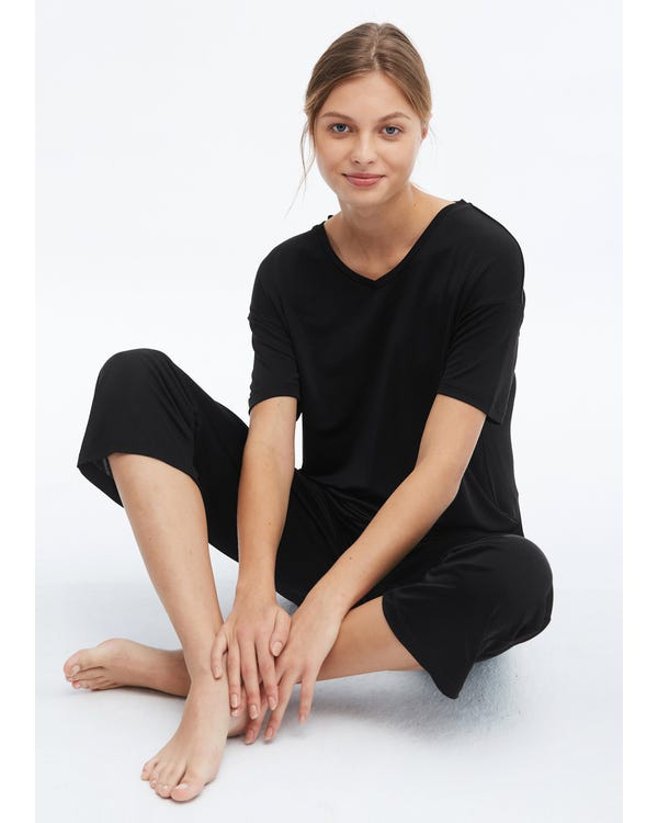 Comfortable Simple Style Silk Knitted Pants Black M-hover