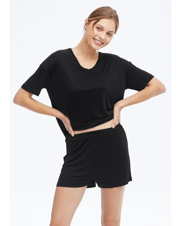 Casual Silk Lounge Shorts Black M-hover