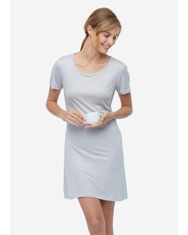 Casual Short Sleeve Silk Knit Nightdress gray-w01 M