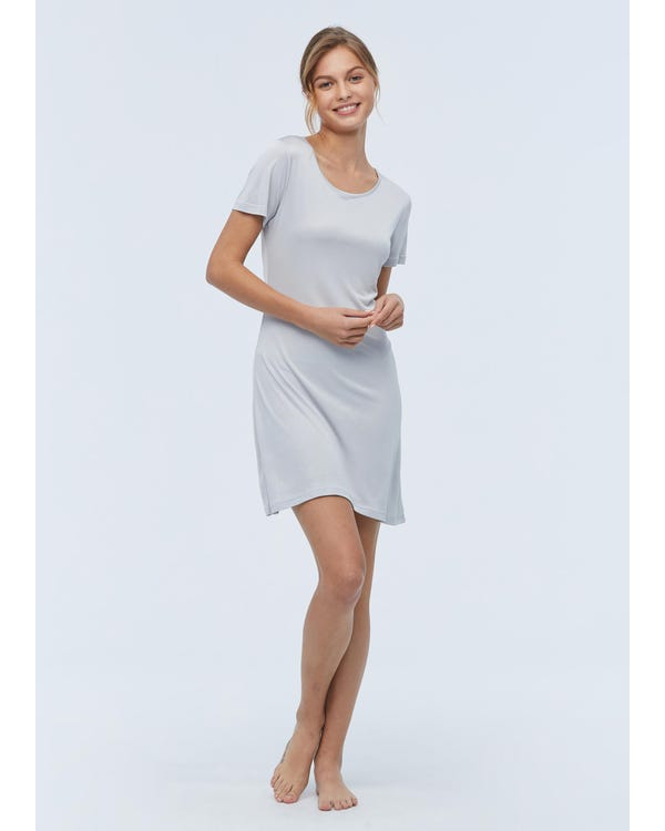 Casual Short Sleeve Silk Knit Nightdress gray-w01 M-hover