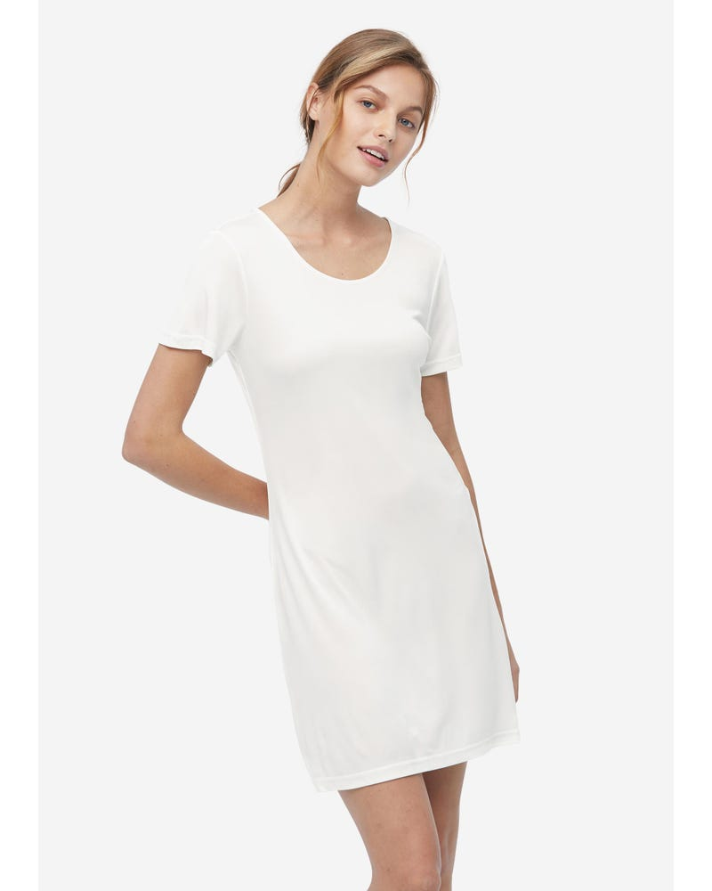 Casual Short Sleeve Silk Knit Nightdress