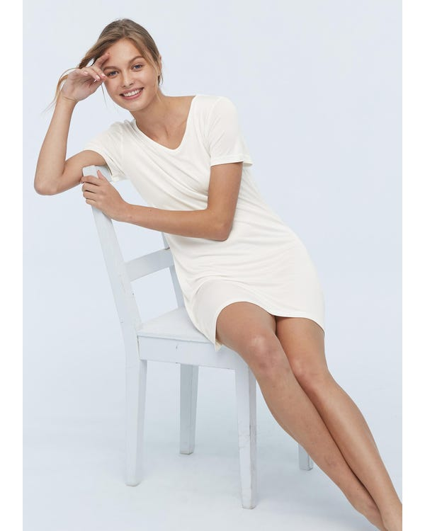 Casual Short Sleeve Silk Knit Nightdress-hover