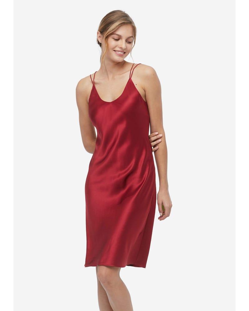 Elegant Charming Silk Cami Nightdress With Built-In Bra