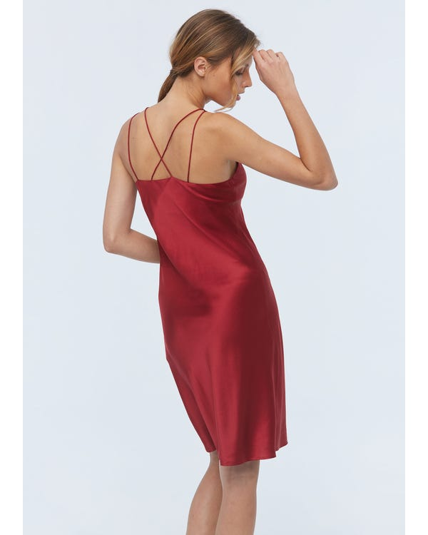 Elegant Charming Silk Cami Nightdress With Built-In Bra