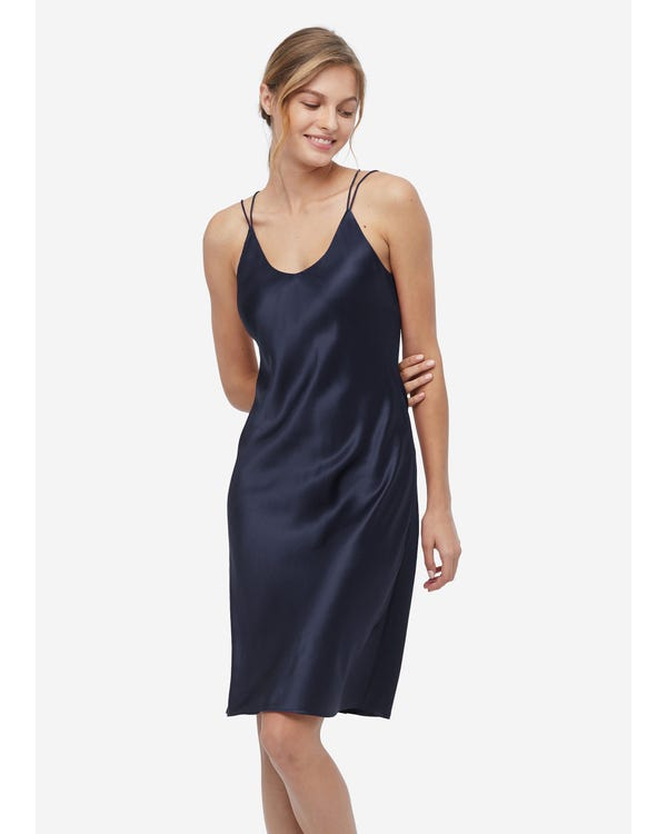 Elegant Charming Silk Cami Nightdress Navy Blue XS