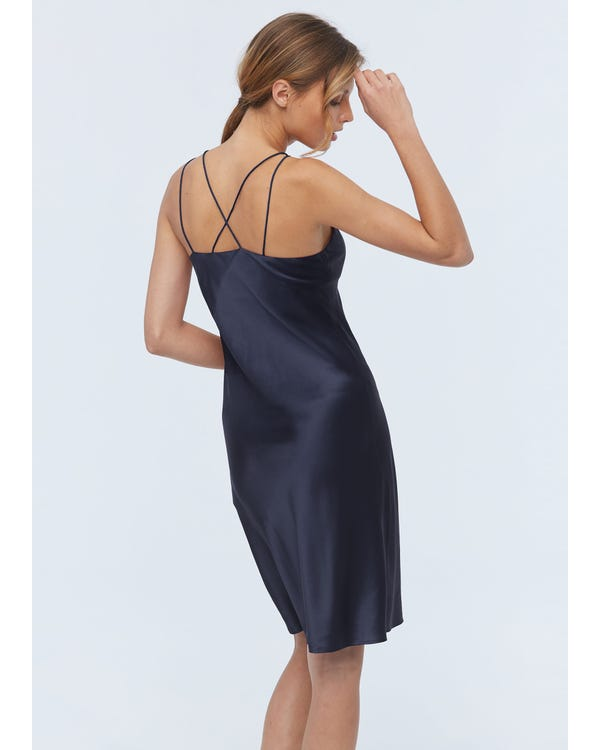 Elegant Charming Silk Cami Nightdress Navy Blue XS-hover