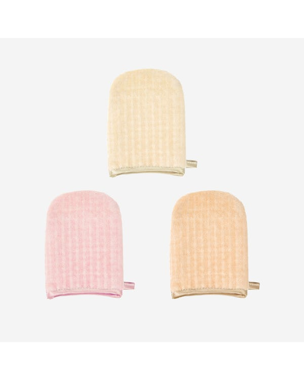 Random Color 3 Pieces Silk Cut Pile Facial Wash Pad