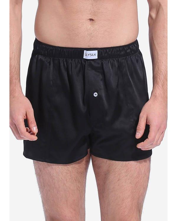 Luxe Uitstekende Zijde Ondergoed voor mannen Zwart XL