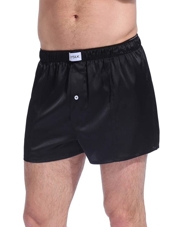 Luxe Uitstekende Zijde Ondergoed voor mannen Zwart M-hover
