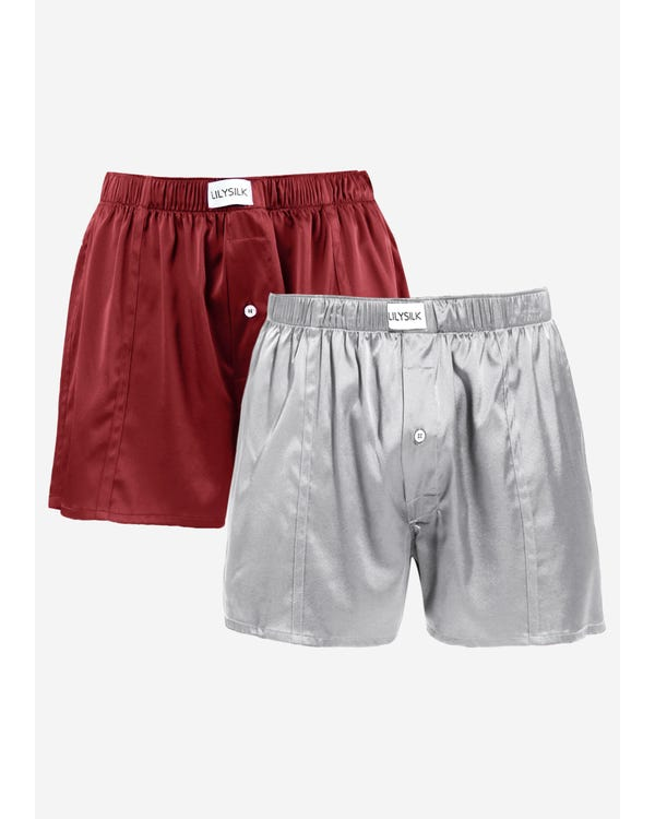 Luxury Fitted Draping Silk Boxer For Men 2 Pack(Random Color) Claret-Middle-Gray XXL-hover